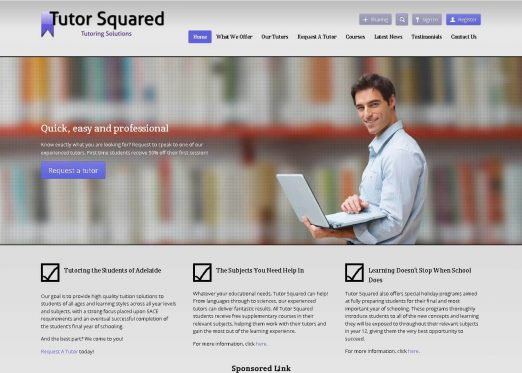 screenshot of Tutor Squared website