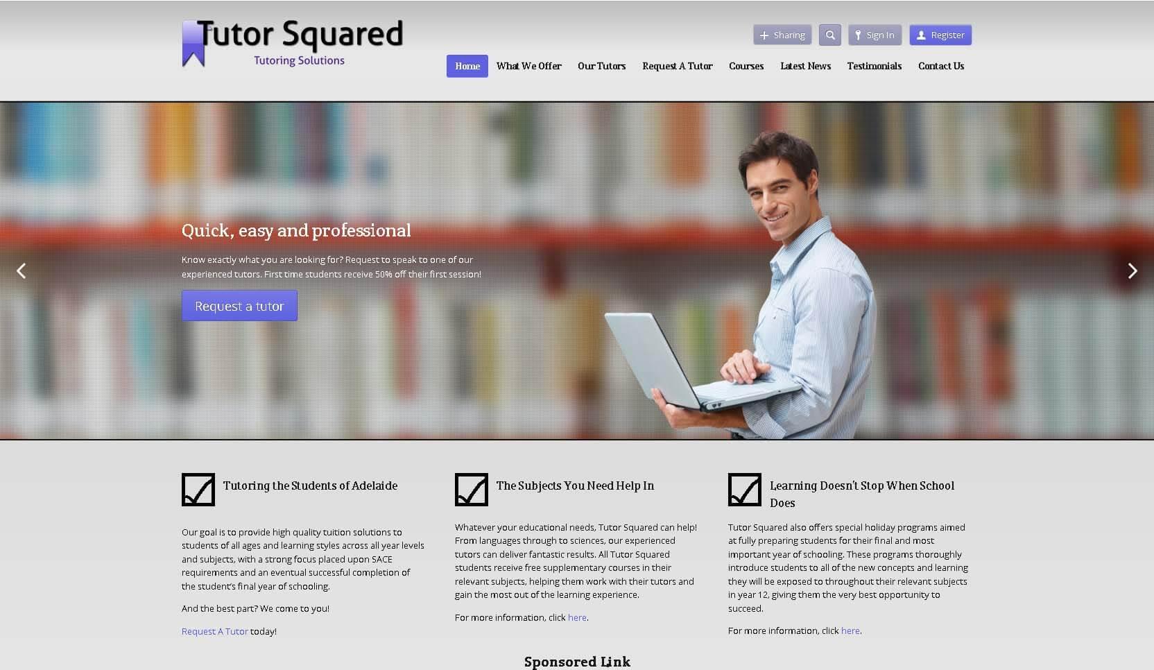 screenshot of Tutor Squared website